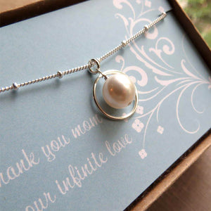 Mother Swarovski pearl eternity necklace - RayK designs