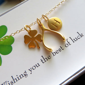 Good luck initial necklace, make a wish, shamrock charm, wishbone necklace, personalized lucky jewelry, Christmas gift, gift for her - RayK designs
