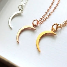 Load image into Gallery viewer, Small gold crescent moon necklace, moon charm necklace, gold crescent moon, celestial jewelry - RayK designs
