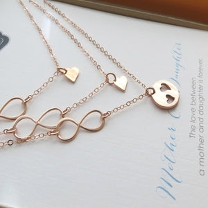 Mother & two daugther infinity heart necklace set - RayK designs