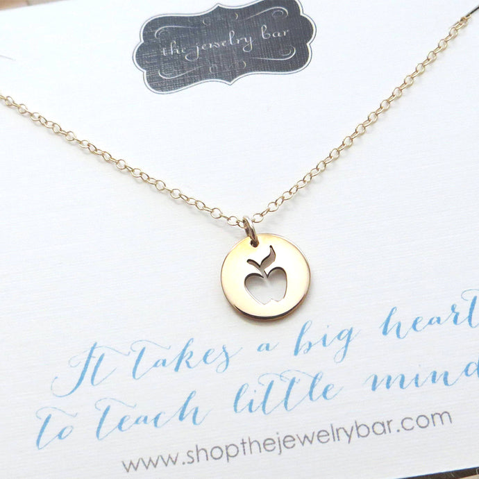 teacher gift, apple charm necklace, gold or sterling silver, teacher appreciation gift, thank you, valentines gift - RayK designs