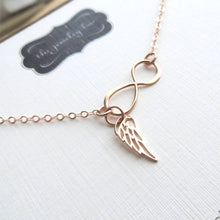 Load image into Gallery viewer, Rose gold Infinity angel wing necklace, memorial, protection, love and friendship, best friends gift, loss of loved ones, grief, miscarriage - RayK designs