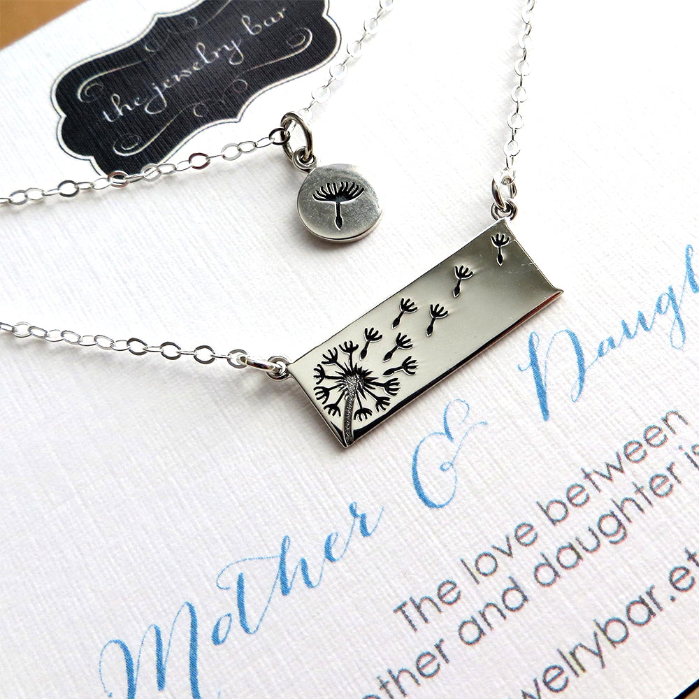 Dandelion horizontal bar necklace set for mother & daughter - RayK designs