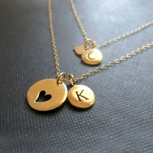 mother daughter initial necklace - RayK designs