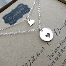 Load image into Gallery viewer, Mother daughter heart necklace set