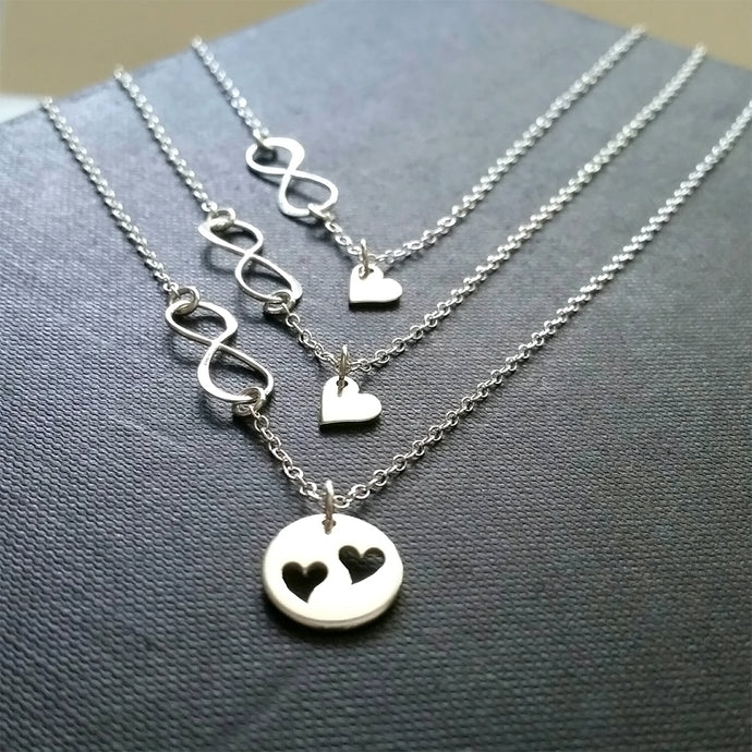 Mother two daugther infinity heart necklace set - RayK designs