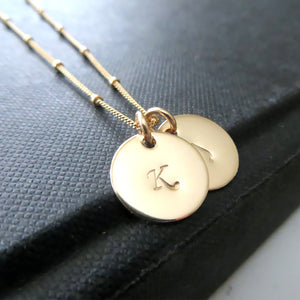 Double Initial necklace, 14k gold filled 2 initial necklace, personalized monogram jewelry, thick 22 gauge metal disk - RayK designs