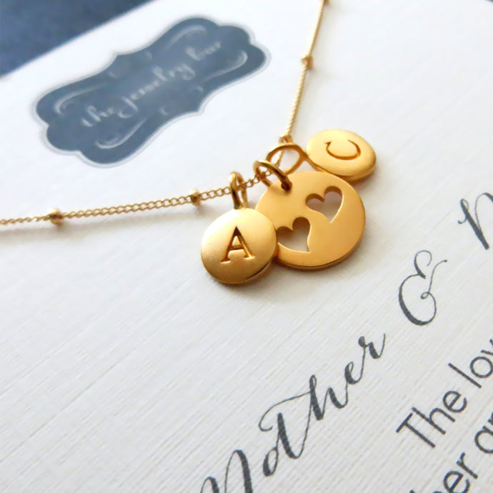 gift for mom from children, mother two initial necklace, Personalized jewelry, heart cutouts, mom birthday gift, mothers day - RayK designs