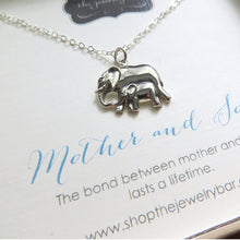 Load image into Gallery viewer, Mother and son mama and baby elephant pendant necklace - RayK designs