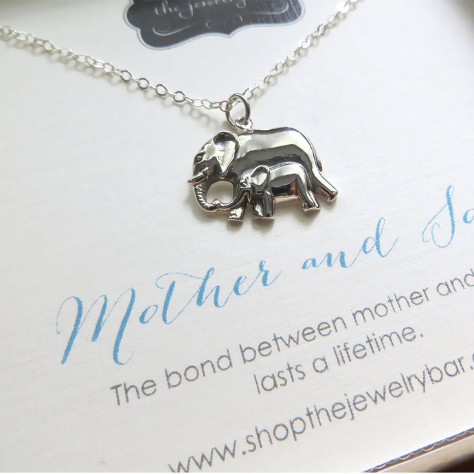 Mother and son mama and baby elephant pendant necklace