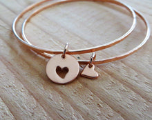 Load image into Gallery viewer, Rose gold mother daughter bracelets,  set of 2 bangles for mom and daughter, gift for her