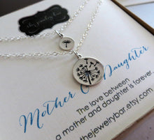 Load image into Gallery viewer, Mother daughter jewelry, Dandelion charm necklace, sterling silver, gift for mothers day from daughter - RayK designs