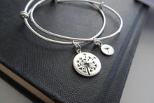 Load image into Gallery viewer, mother of the bride gift, dandelion bangle bracelet, mother daughter jewelry, flower charm, silver, wedding gift for mom, mother of bride - RayK designs