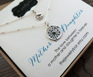 mother daughter jewelry, dandelion necklace with ball chain, sterling silver, mom gift, mother daughter necklace, birthday gift - RayK designs