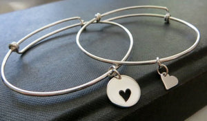 Mother of the bride gift, mother daughter sterling silver bangle, mother of the bride heart bracelet, matching set, wedding gift, Christmas - RayK designs