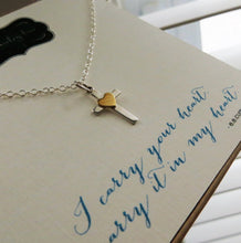 Load image into Gallery viewer, Gift for goddaughter, I carry your heart necklace, cross with gold heart accent, baptism, godchild gift, first communion, goddaughter gift - RayK designs