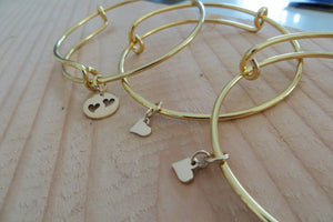 mother daughter bangle bracelets, mother and 2 daughters jewelry, gold plated, gift for mom, mom two daughter bracelets - RayK designs