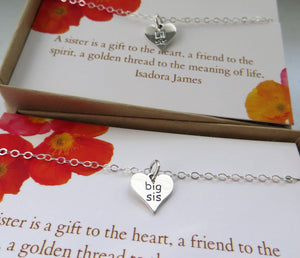Sisters gift, Big sister little sister necklace, engraved heart charm, sister birthday gift for sister, sterling silver, holiday gift - RayK designs