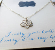 Load image into Gallery viewer, I carry your heart necklace, infinity heart necklace, ee cummings quote card, intertwined infinity charm, gift for daughter, goddaughter - RayK designs