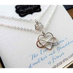 Grandma gift from granddaughter, Grandmother granddaughter necklace set, infinity heart charm, generations, Holiday gift ideas, best gram - RayK designs