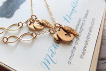 Load image into Gallery viewer, mother daughter angel wing & infinity initial necklace - RayK designs