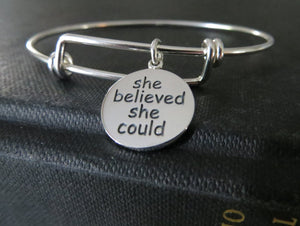 she believed she could so she did bangle bracelet, motivational jewelry, inspiration encouragement gift for her, sterling silver, graduation - RayK designs