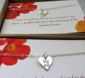 Sisters gift, Big sister little sister necklace, engraved heart charm, sister birthday gift for sister, sterling silver, holiday gift