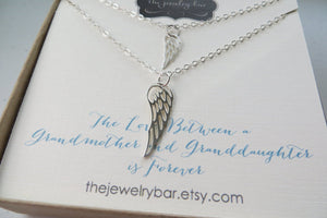 Grandmother granddaughter angel wing necklace set - RayK designs