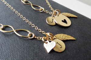 mother daughter angel wing & infinity initial necklace - RayK designs