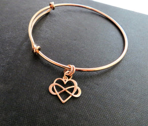 Mother of the bride gift, rose gold infinity heart bangle bracelet, wedding gift for mom from bride, mother of the groom gift, love - RayK designs