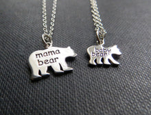 Load image into Gallery viewer, Mama & baby bear necklace, sterling silver mommy and me set - RayK designs