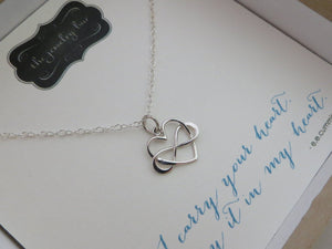 I carry your heart necklace, infinity heart necklace, ee cummings quote card, intertwined infinity charm, gift for daughter, goddaughter - RayK designs