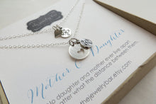 Load image into Gallery viewer, Mom daughter sterling compass necklace, going away gift for mom - RayK designs