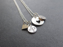 Load image into Gallery viewer, Mother gift, Mom daughter compass necklace, going away gift for mom, heart cutout charm, mom gift from daughter, mothers day, goodbye - RayK designs