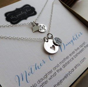 mom birthday gifts, mother daughter necklace set, compass heart necklace, mother daughter jewelry, going away gift for mom from daughter - RayK designs