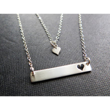Load image into Gallery viewer, Mom gift, Mommy and me bar necklace set, gift for mom, mother daughter jewelry, silver heart cutout charm, mom necklace, mom jewelry - RayK designs