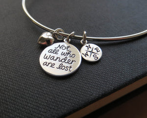 Not all who wander are lost, compass bangle, journey, quote, wanderlust, sterling silver expandable bracelet with wording - RayK designs