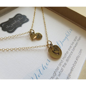mother daughter compass heart necklace, - RayK designs