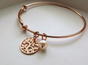 mother of the bride gift from daughter, rose gold tree of life bangle bracelet, mother in law gift, pearl, wedding day jewelry for mom - RayK designs
