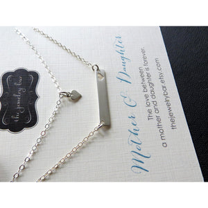 Mom gift, Mommy and me bar necklace set, gift for mom, mother daughter jewelry, silver heart cutout charm, mom necklace, mom jewelry - RayK designs