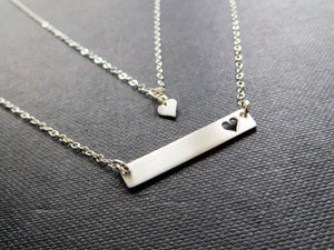 Gold Mother daughter bar necklace - RayK designs