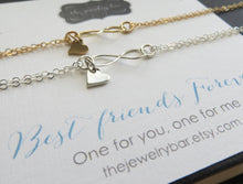 Load image into Gallery viewer, Heart infininty bracelet, set of 2 for besties - RayK designs