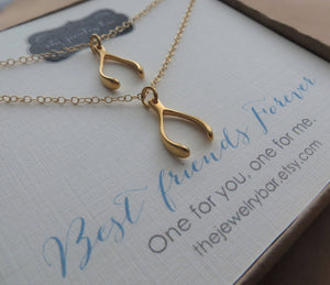 Best friends Wishbone charm necklace - RayK designs