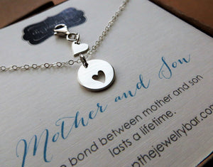 Mother son jewelry - heart cutout necklace, tiny clip, newborn, pregnancy gift, expecting mom, baby shower, push gift, mom - RayK designs