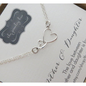 Godmother gift, Big and little heart necklace, mothers day gift, sterling silver two linked heart necklace, Goddaughter - RayK designs