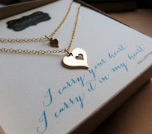Load image into Gallery viewer, I carry your heart necklace, heart cutout necklace, mother daughter necklace, gold or silver, new mom gift, daughter gift, goddaughter - RayK designs