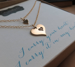 I carry your heart necklace, heart cutout necklace, mother daughter necklace, gold or silver, new mom gift, daughter gift, goddaughter - RayK designs