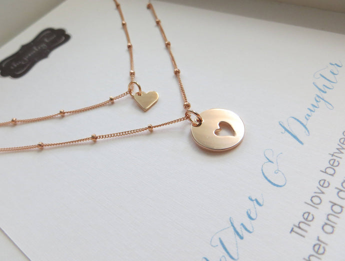 Mother of the bride gift from daughter, mom daughter rose gold heart necklace, satellite chain, wedding gift for mom, mother of the bride - RayK designs