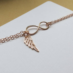 Rose gold Infinity angel wing bracelet, memorial, protection, friendship, best friends gift, loss of loved ones, miscarriage - RayK designs