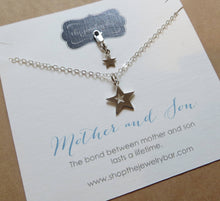 Load image into Gallery viewer, Mother son jewelry - star cutout necklace and clip - RayK designs